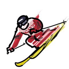 スキー_直滑降