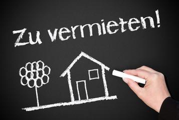 Zu vermieten ! - Immobilien Konzept - Kreide Tafel