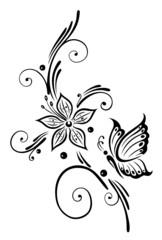 Ranke, flora, Blumen, Blüten, filigran, vector, schwarz