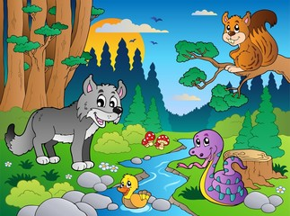 Wall Murals River, lake Forest scene with various animals 5