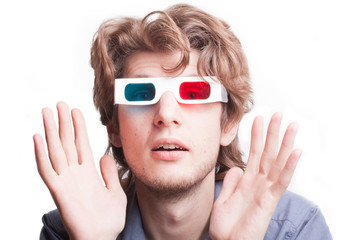 portrait of a man in a 3D stereo glasses