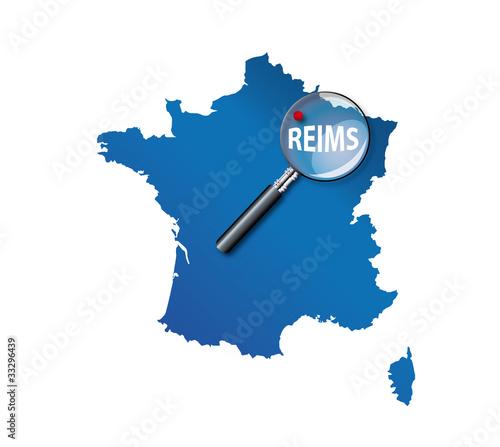 Reims carte de france d partement de la marne - Carte de visite reims ...