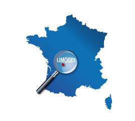 Limoges : carte de France - département de la Haute-Vienne