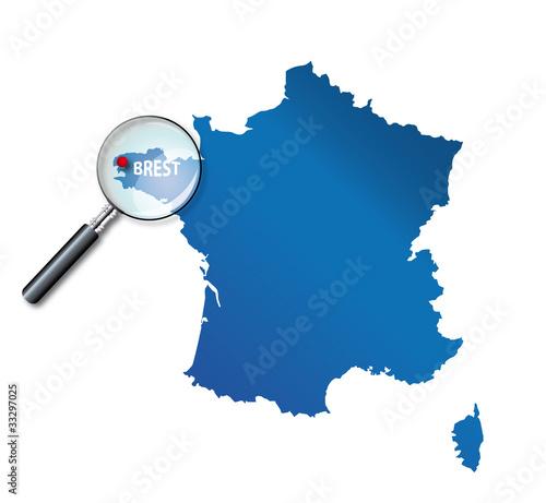 """""""Brest : Carte de France - département du Finistère"""" fichier vectoriel libre de droits sur la ..."""