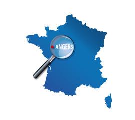 Angers : Carte de France - département Maine et Loire