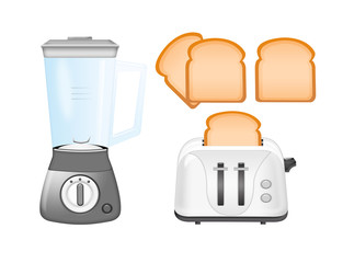 blender, toaster and bread