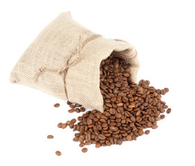 coffee beans and burlap sack