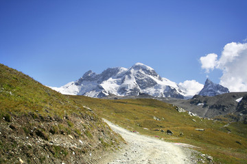 touristic trail in Alps, Zermatt