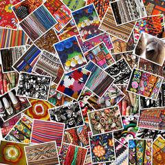 Colorful collage of ancient pictures on indian market