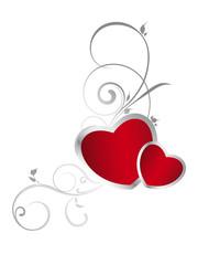 Rote Herzen mit Verzierung