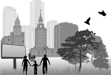 family in city grey illustration