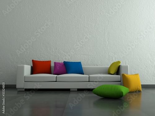 weisses sofa mit bunten kissen stockfotos und. Black Bedroom Furniture Sets. Home Design Ideas