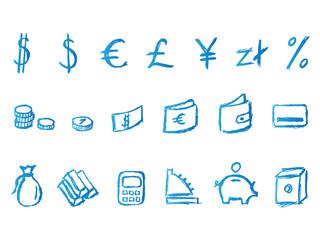 handwritten financial icons