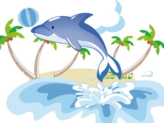 Tuinposter Dolfijnen dolphin playing ball