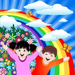 Spoed Foto op Canvas Regenboog Bambini Felici con Arcobaleno-Happy Children and Rainbow-Vector