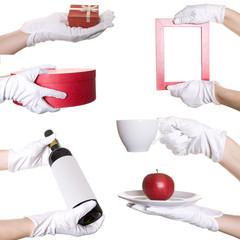 Human's hands in white glove