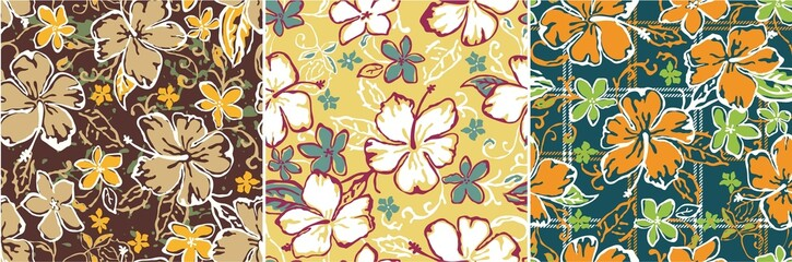 flowers seamless vector patterns