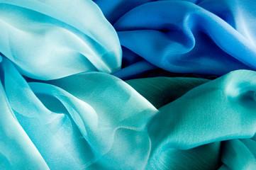 Blue tones of silk fabric