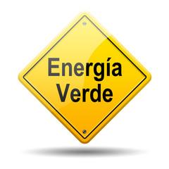 Señal amarilla texto Energia Verde