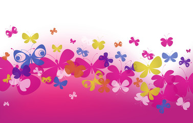 pink wave with butterflies