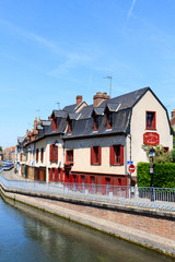 Street in Quartier Saint Leu in the center of Amiens in France