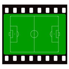 Filmstreifen mit Fußballfeld