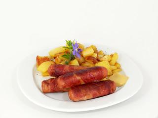 Berner Speckwürstl mit Bratkartoffeln