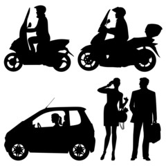 several people on a street - vector silhouettes