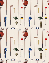 seamless cartoon golf game pattern.