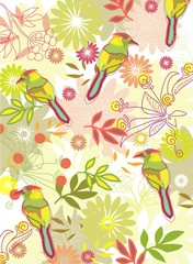 Color floral background with birds