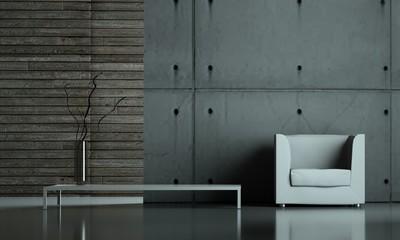 Wohndesign - weisser Sessel vor Betonwand
