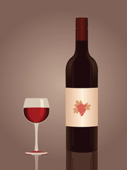 Red wine bottle and a glass