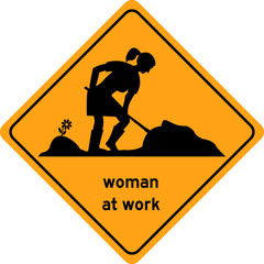 Woman at work traffic sign