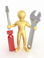Men with wrench and screwdriver. 3d