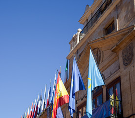 Spain and Asturias flags