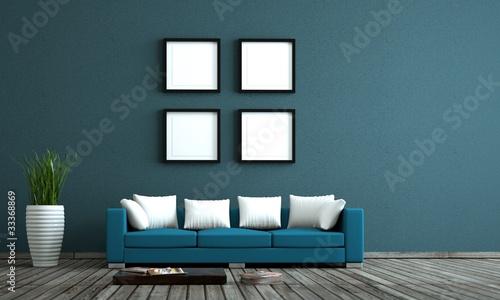 blaues sofa vor blauer wand mit bildervorlagen