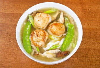 Bowl of Noodle Soup with Pan Seared Scallops