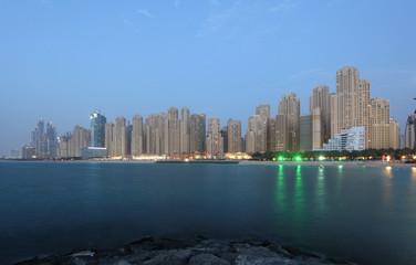 Jumeirah Beach Residence at dusk. Dubai