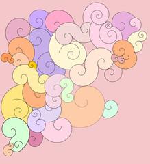 dicke Schnörkel in Bonbon Farben