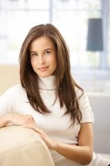 Attractive woman on sofa