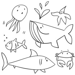 Doodle sea animals, vector illustration