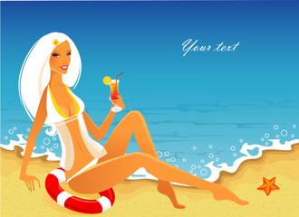 Beauty woman on a beach