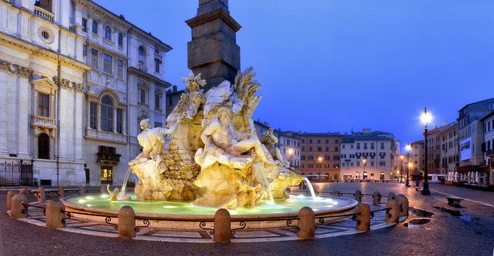 Piazza Navona, Fontana dei Fiumi, Gian Lorenzo Bernini, Roma