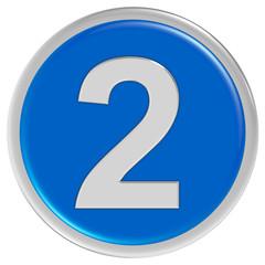 Button blau rund Rand ZAHL 2