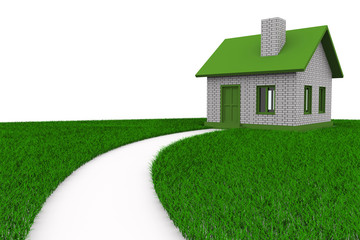 Road to house on grass. Isolated 3D image