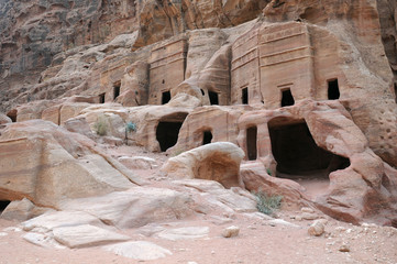 Ancient Tombs at Petra in Jordan