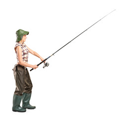 Young fisherwoman posing