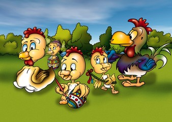 Chicken and Easter - Cartoon Background Illustration