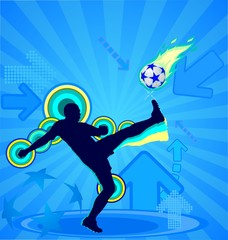 Soccer player silhouette and ball on the blue background
