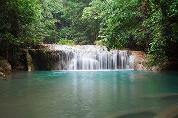 Erawan waterfall in Thailand.